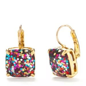 Kate spade gold drop earrings multicolor glitter